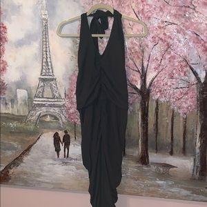 Majorelle green halter v neck ruched sides dress M